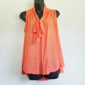 FREE PEOPLE SLEEVELESS BLOUSE WITH NECK TIE BOW